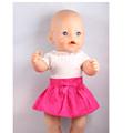 43cm Born Zapf Doll Clothes Fashion White T shirt Top Red Skirt With Ruffles AG506