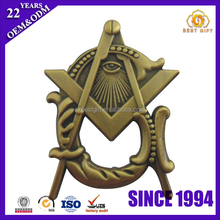 Custom Antique Brass Large Square and Compass Masonic Lapel Pin