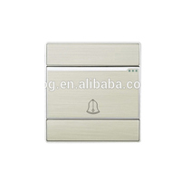 Brushed silver aluminium panel 10A door bell electeical switch 220V CE SASO ROHS CB certificated