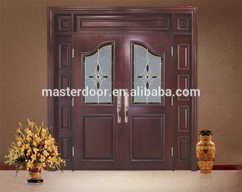 Malaysian 8ft Interior Solid Wooden Double Door Solid Wood Door