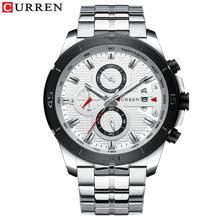 CURREN Мужские часы Топ бренд класса люкс Хронограф Кварцевые часы нержавеющая сталь Бизнес наручные часы Мужские часы Relogio Masculino(Китай)