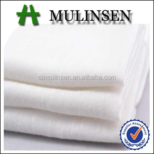 Mulinsen Textile Plain Dyed Knit 30s Spun Polyester Single Jersey Lycra Fabric White for Apparel