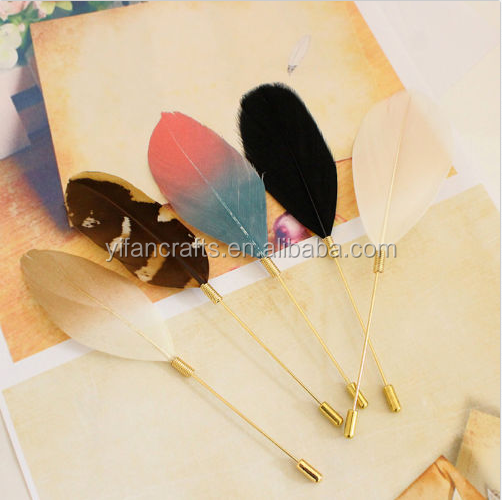 Men Women Real Feather Gold Plug Lapel Stick Hat Prom Corsage Wedding Pin Brooch