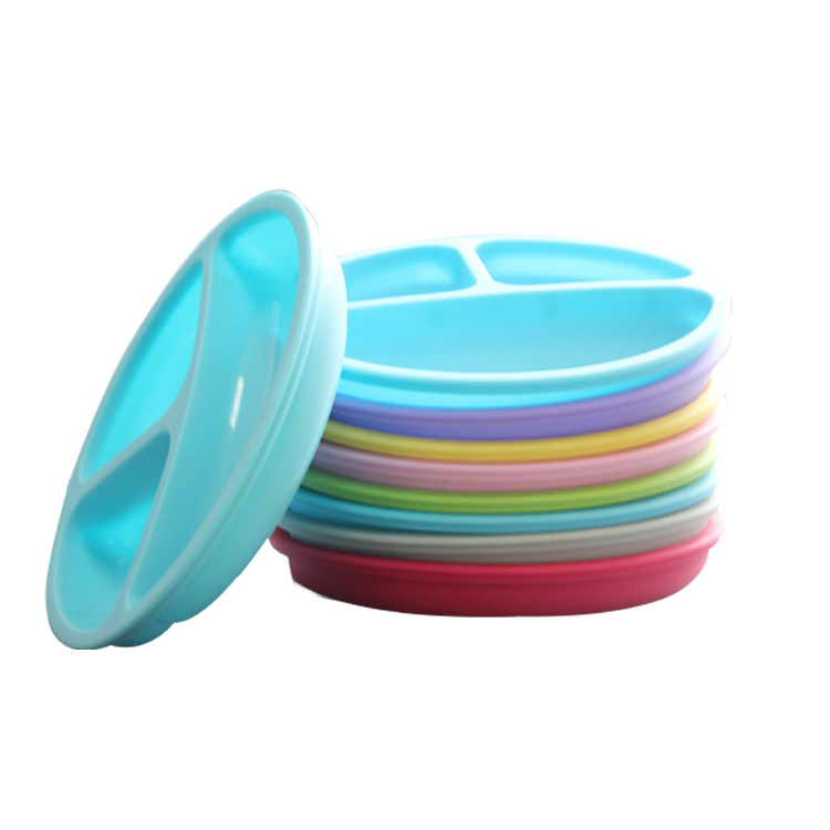 Amazon Bestseller Soft Anti Skid and Heat-Resisitant  Kinderteller Silicone Round Divided Baby Dinner Plates