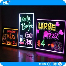 Advertising lighted LED display hanging board / diy LED erasable writing board