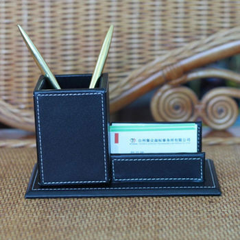 leather set desk business card holder pen holder - Business Card Holder Desk