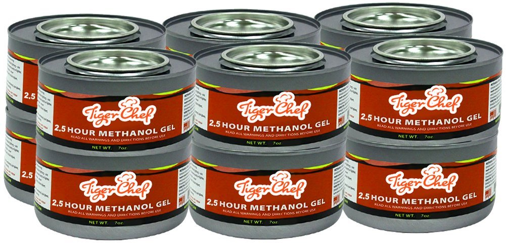 Tiger Chef Gel Fuel 7 oz Can - Methanol Chafing Fuel Gel Cans Cooking Fuel Cans burns 2 hours (12, Gel Fuel Cans)