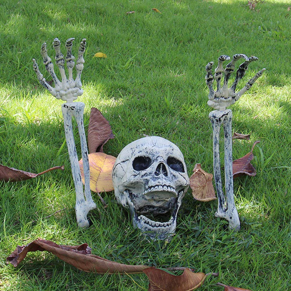 Realistic Skull and Forearms Skeleton Stakes Halloween Skull and Skeleton Decoration for Indoor and Outdoor Yard Stakes Skeleton Ground Breakers for Halloween Yard Decorations