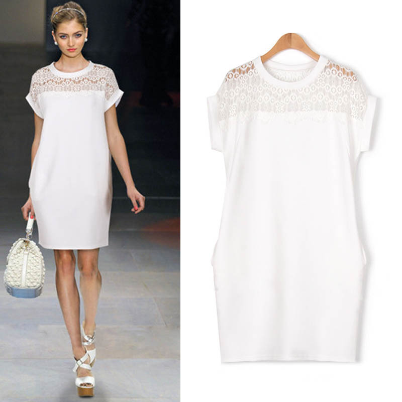 Free shipping 2015 hot sale sexy women's plus size  round  neck short sleeve large size women's Lace stitching casual dress