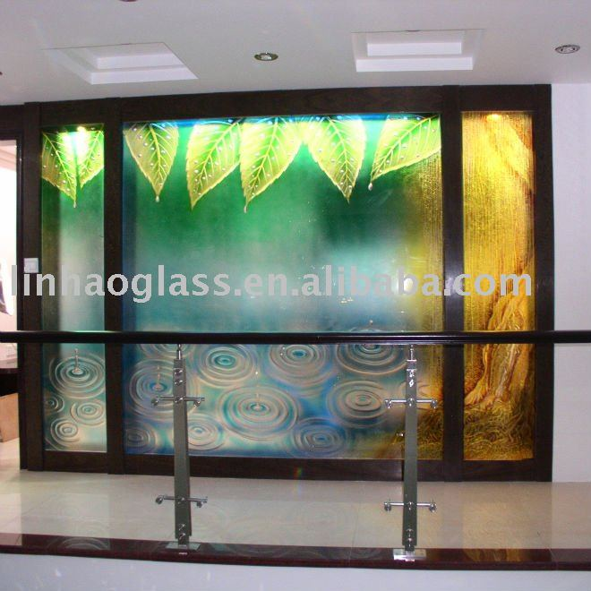 Stained Office Partition Glass Wall Prices Art Glass