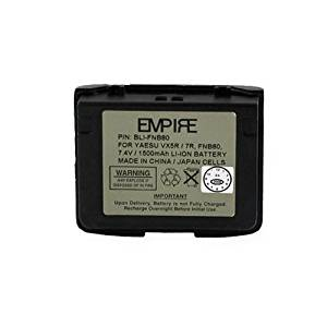 Vertex VX-5RS 2-Way Radio Battery (Li-Ion 7.4V 1300mAh) Rechargeable Battery - Replacement for Yaesu/Vertex FNB-80 Battery