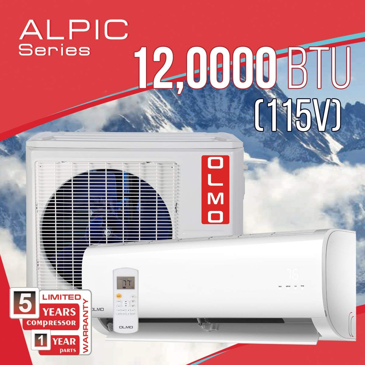 OLMO Alpic 12,000 BTU, 115V Ductless Mini Split Air Conditioner Heat Pump