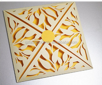 Personalized Wedding Invitation Petal Fold Square Wedding Card Laser Cut Wedding Cards