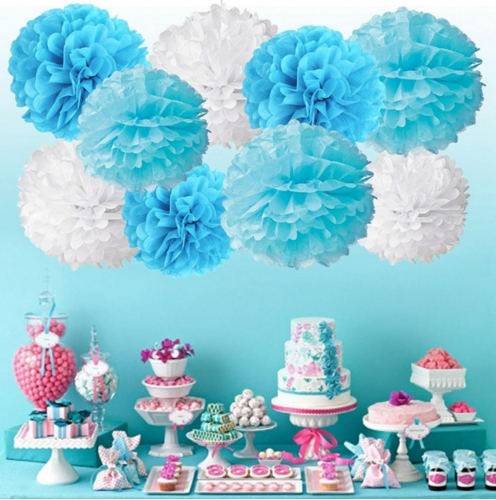 9pcs 8 10Inch Tissue Paper Pom Poms Mixed Halloween Christmas Ornaments Flowers For Wreaths Wedding Party Home Decoration