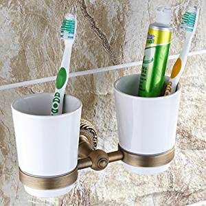 Copper Finish GoCraft Wire Metal Toothbrush Holder Stand for Bathroom Vanity Countertops