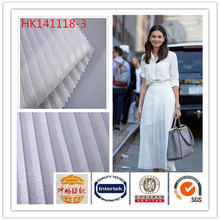 White color anti-static 100%polyester silver foil pleated chiffon clothing fabric for dress