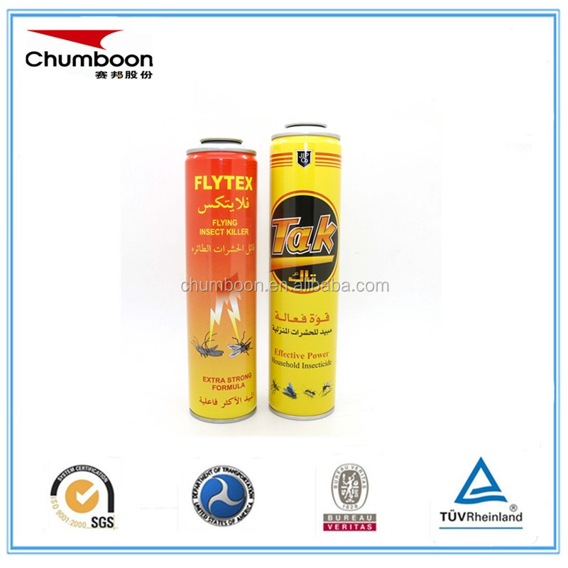empty aerosol tin can packaging for flying insect pesticide killer