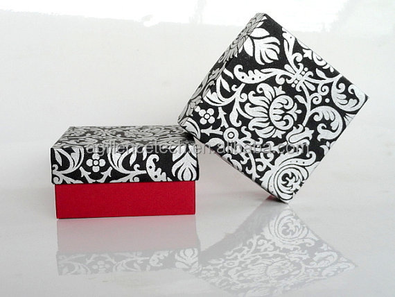Black And Red Silver Damask Print Wedding Favor Boxpackaging Box