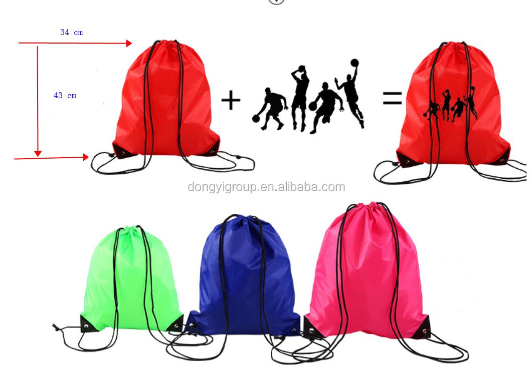 사용자 정의 흰색 210d 폴리 에스터 Drawstring 신발 가방 파우치 맞춤 Drawstring 구두 가방