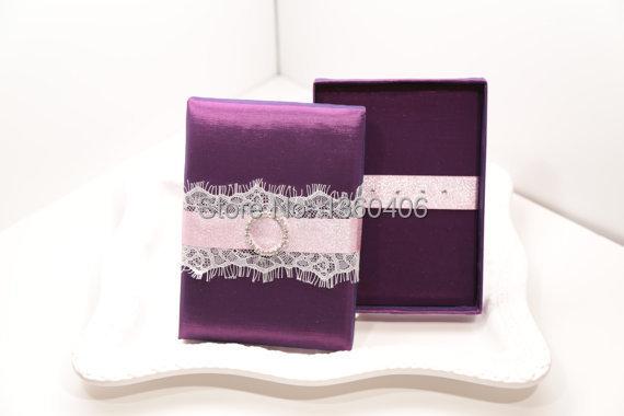 Get Quotations · Hot Sale Royal Purple Silk Wedding Invitation Box with  Lace Rhinestone Brooch 297c29f990ea