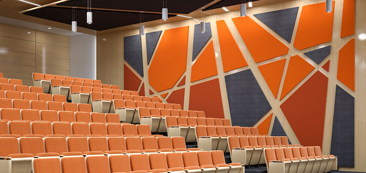 Colorful decorative polyester fiber acoustic wall panel for cinema