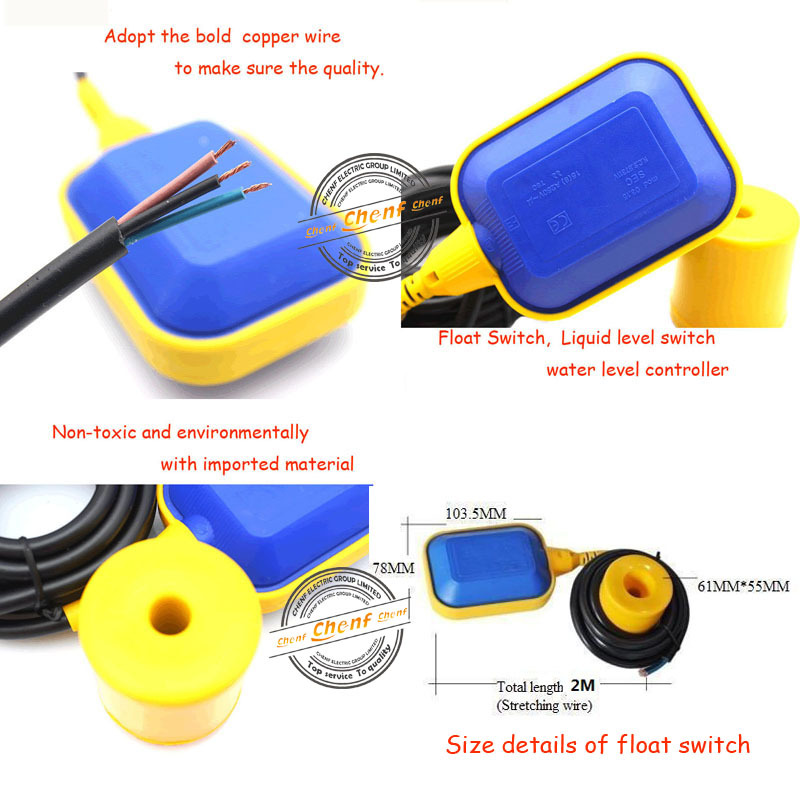Ce Approval 2m,3m,4m,5m Cable Water Level Float Switch For Water ...