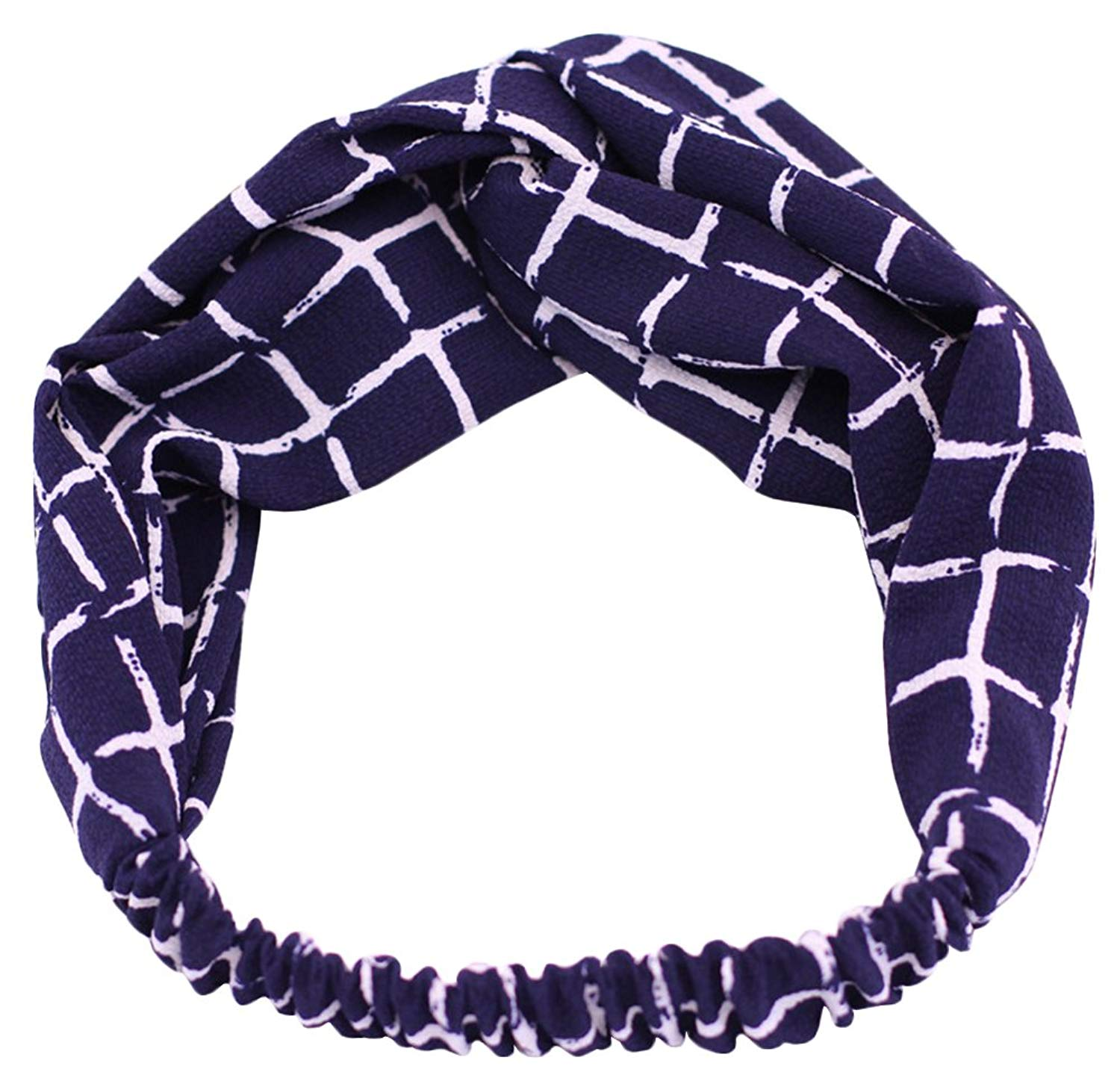 Get Quotations · X F Women s Checkered Floral Twisted Headband Elastic Sports  Yoga Head Wrap 0f1ea0f35c51