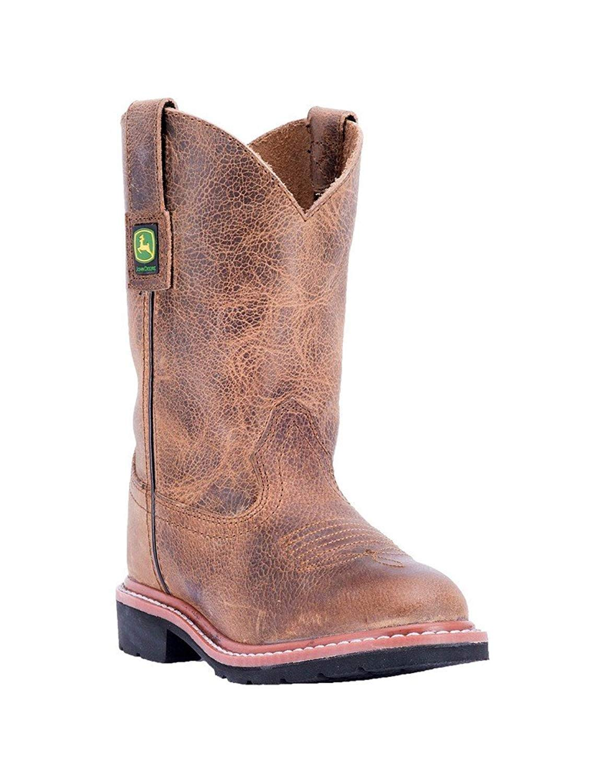 John Deere Western Boots Boys Walking Rubber Distressed Brown JD3575