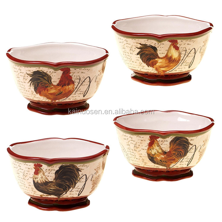 5.5-Inch Rooster Ice Cream Bowl,Assorted Designs, Set of 4