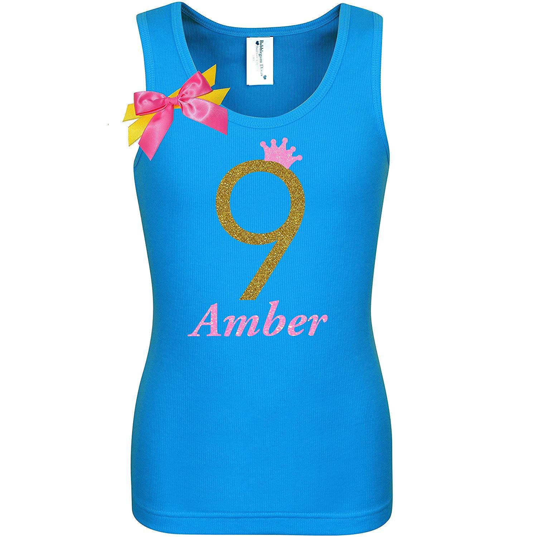 2071d075138 ... Girls Glow Party Gift 26.5. 9th Birthday Shirt Gold Glitter Nine T-Shirt  Tank Top Custom Name Age 9 Tween