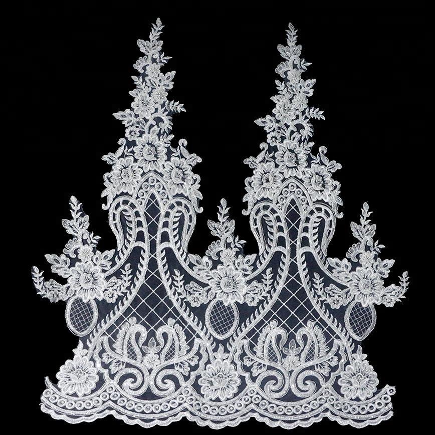 Pabrik OEM Harga Lace Edging Manik-manik Dijalin Dgn Tali Pengantin Bordir Renda Trim untuk Gaun