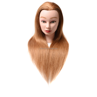 Cosmetology Mannequin Head Brown Color with Free Clamp for Professional Hairdressing Trainning Practice