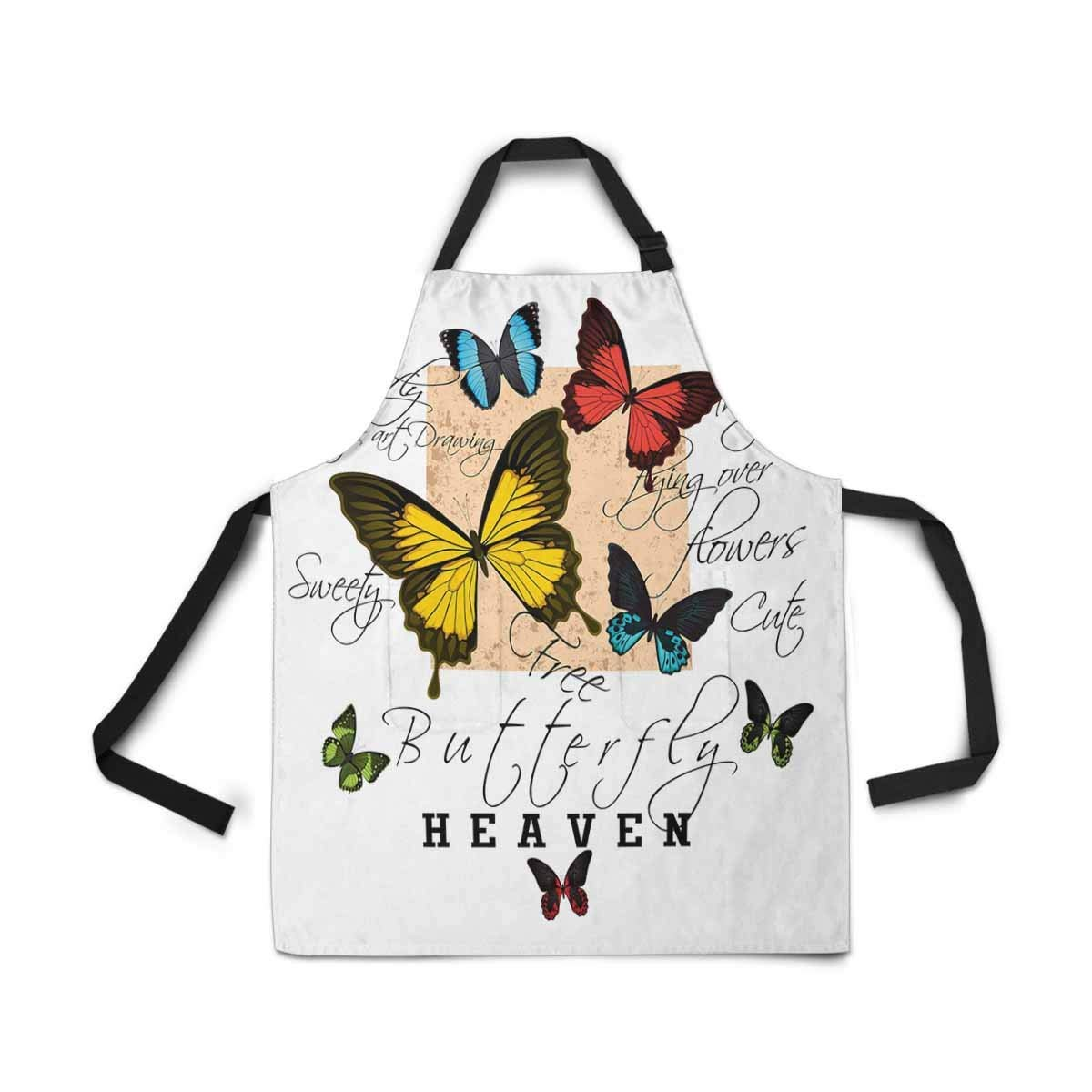 InterestPrint Vintage Colorful Butterfly Apron Kitchen Cook for Women Men Girls Chef with Pockets, White Funny Adjustable Bib Baking Paint Cooking Apron Dress