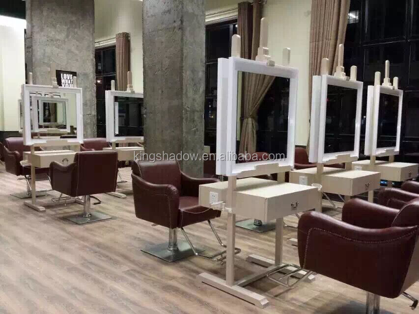 Western luxury design salon mirrors light barber shop for Salon table and mirror