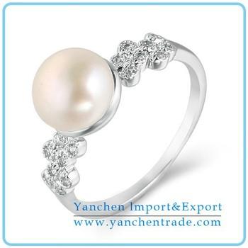 Elegant Pearl Wedding Ring Bead Ring Cz Diamond With Rhodium Plating ...