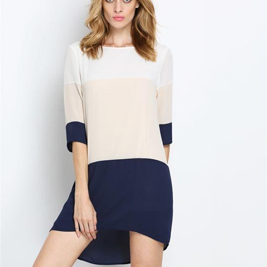 Ladies Fashion Elegant Style Chiffon Color Block Dress