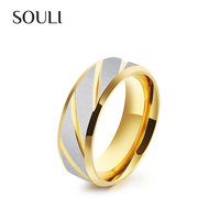 Stainless Steel Jewelry Fashion Engagement Gold Plated Ring, Qingdao Titanium Jewellery Men's Ring