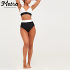 Wholesale Black Contrast High Waisted Sexy Women Bikini Bottoms