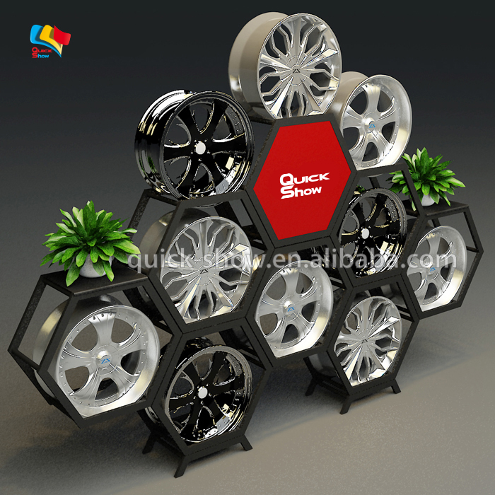 Custom wiel display rekken stand shanghai auto onderdelen of auto hub display rack