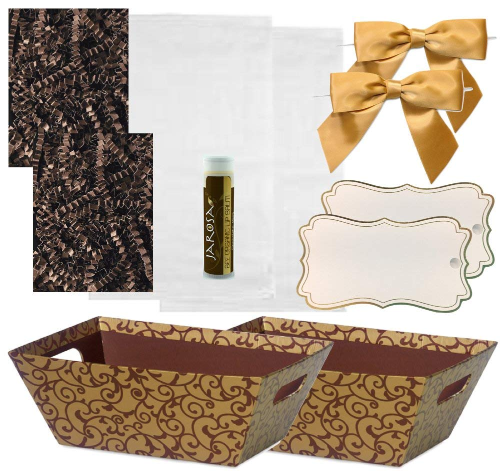 Pursito Gift Basket Making Kit Includes: Chocolate Scroll Market Tray, Crinkle Cut Paper, Cellophane Bag, Gold Satin Bow & Gift Tag-2 Total Sets Birthday, Anniversary & Graduation with Bonus Lip Balm