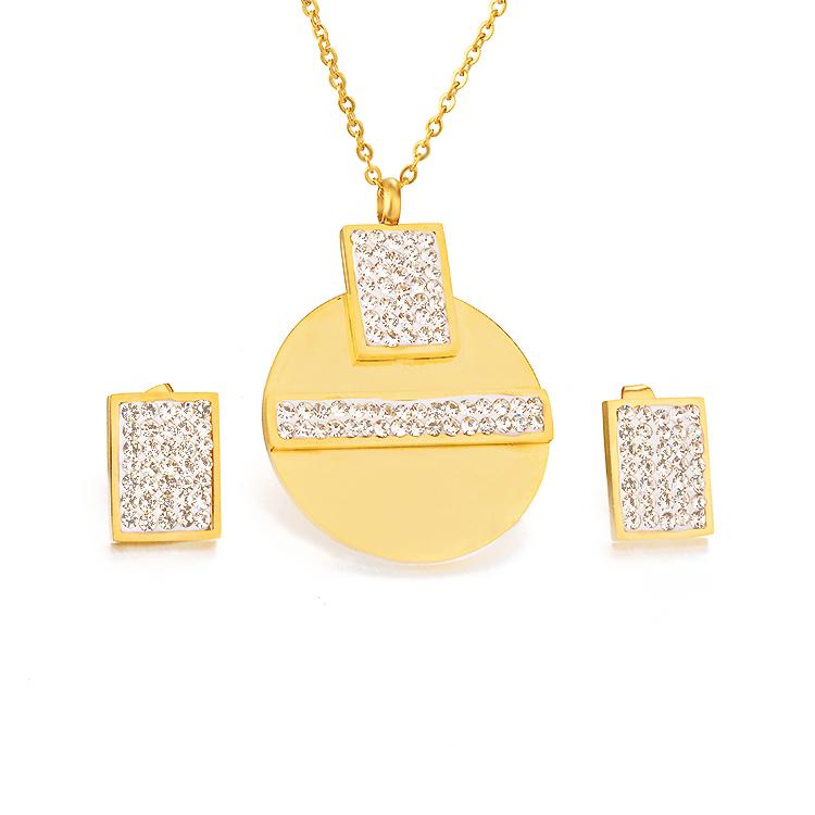 1bb8c9893529 Modalen tendencia africana oro 18 k de joyas de diamantes de acero  inoxidable collar conjunto