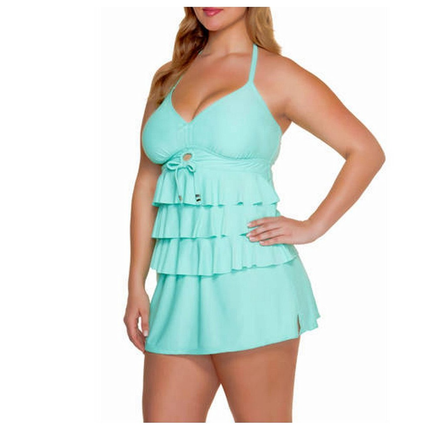 add5b2ad20fb9 Get Quotations · Catalina Women's Plus-Size Tiered Ruffle Tankini Swimsuit  Top