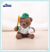 mini stuffed animal toy plush sports player teddy bear in T-shirt and hat