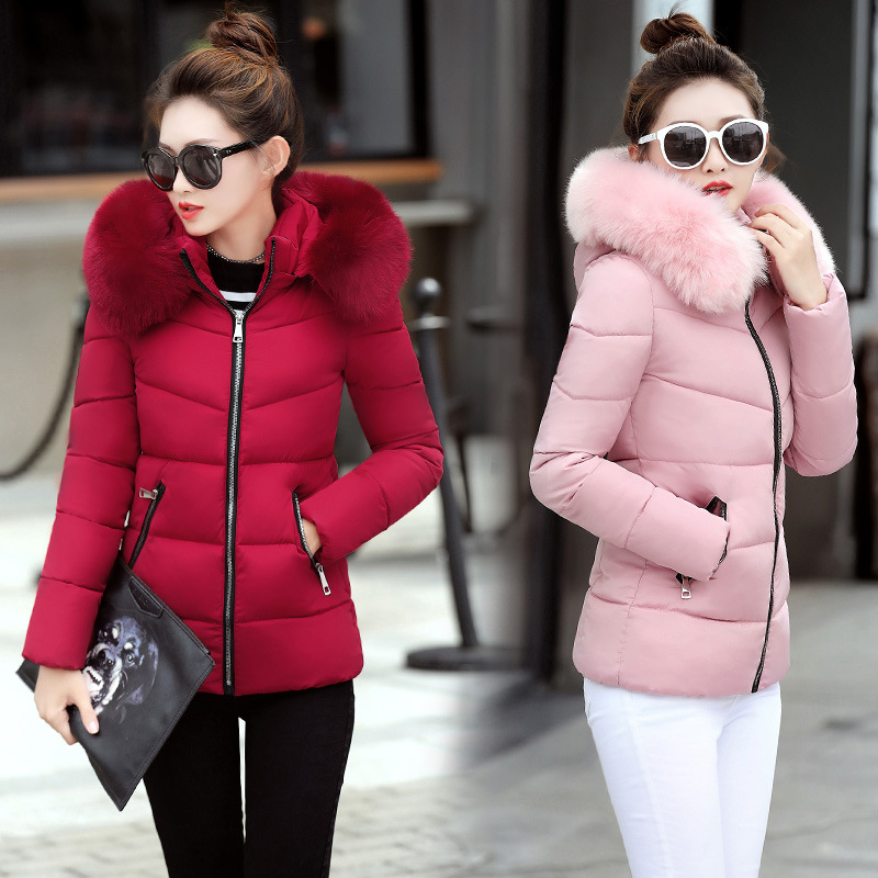Winter Women's Down Jacket Padded Quilted Coat Slim Hooded Parka
