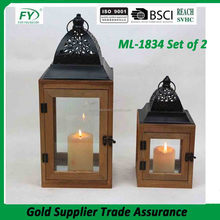 Park hill wood and metal indian moroccan garden lantern for holiday with metal top and glass panels ML-1834 set of 2