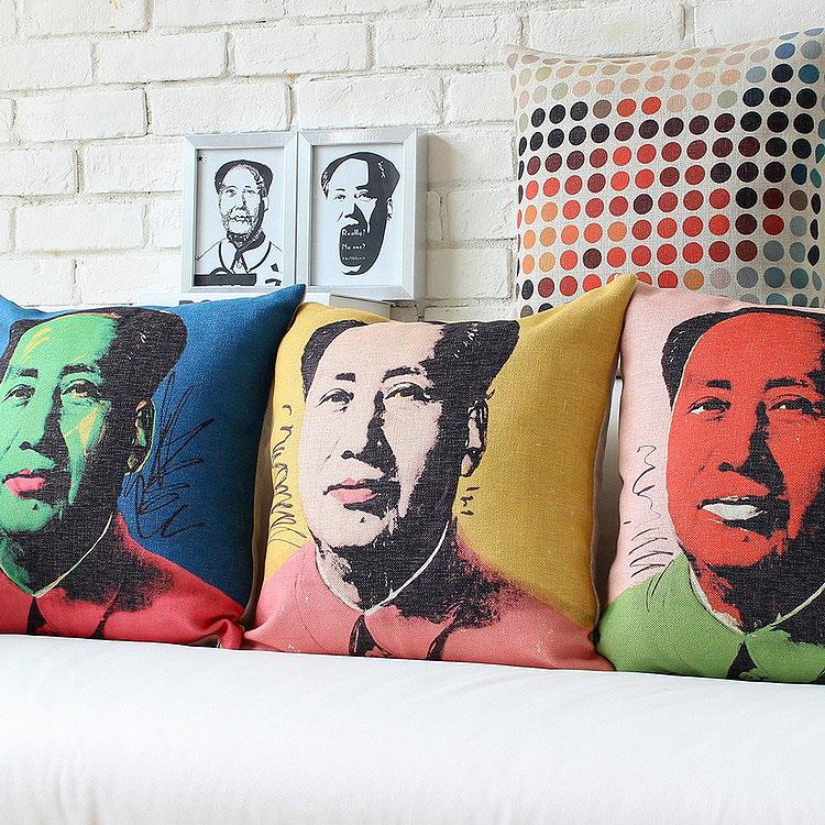 Free Shipping Linen Throw Pillow Hot Sale New Fashion Wedding Decor 45cm Chinese style Chairman Mao Home Office Sofa Car Cushion