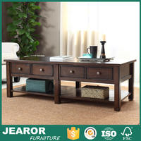 Modern 55 inch Solid Ash Wood Rustic Long Coffee Tables with 4 Drawers Storage 3503