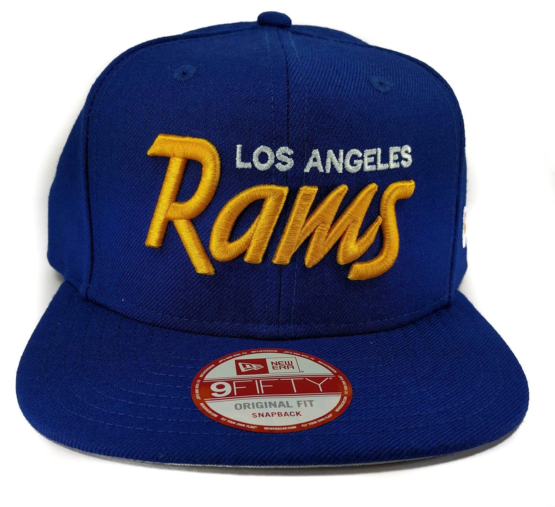 a8a5556b New Era Los Angeles Rams 9Fifty Royal Blue Vintage Script Adjustable Snapback  Hat NFL