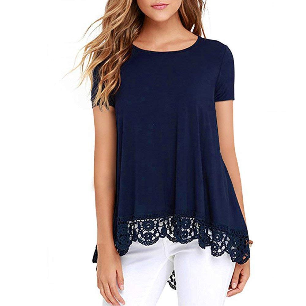 Women's Shirts Short Sleeve Teen Girls Casual Simple Plain Lace Loose Irregular Tunic Tops Blouses