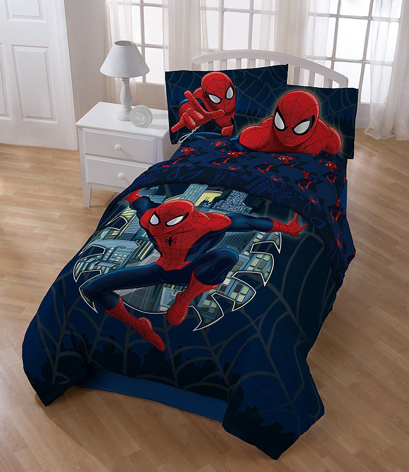 Buy 6 Piece Boys Spider Man The Movie Themed Comforter Full Set Marvel Super Hero Spiderman Comic Costume Character Bedding All Over Geometric Superhero Characters Spiders Web Pattern Navy Blue Red In